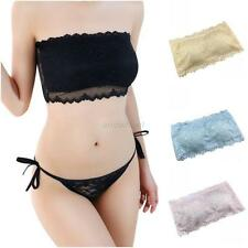 Women's Lace Strapless Seamless Padded Tube Tops Wire Free Bandeau Crop Top Bra