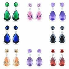 Lucky Womens lucky teardrop rainbow crystal silver plated dangle Drop earrings