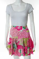 Lilly Pulitzer Pink Green Cotton Floral Print Tiered Skirt Size 4