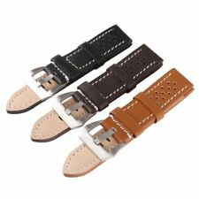 Men's Watch Band Strap THICK Genuine Leather Silver Buckle 20mm 22mm 24mm 26mm