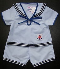BABY BOY SAILOR OUTFIT Pale Blue & White Pin Striped Suit Cotton Pyjama Clothing