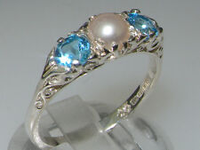 Luxury 925 Solid Sterling Silver Natural Topaz and Cultured Pearl Trilogy Ring