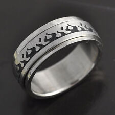 New vogue Stainless Steel Black Enamel Mens Fire Band Wedding Ring size 8 9 12,
