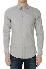 DOLCE&GABBANA New Men Grey Popeline Cotton shirt Made in Italy