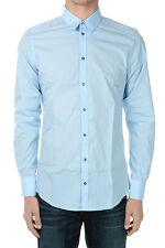 DOLCE&GABBANA New Men BLUE Popeline Cotton shirt Made in Italy