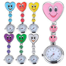 Women Smiling Faces Heart Clip-On Pendant Nurse Fob Brooch Pocket Watch Pretty