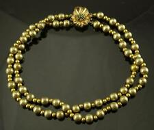 FINE 14K YELLOW GOLD DOUBLE STRAND BEADED CHOKER STYLE NECKLACE W/EMERALD CLASP!