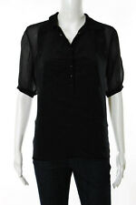 Prada Black Silk Button Front Back Zip Short Sleeve Collared Blouse Size 6
