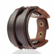 Mens Brown Double Genuine Leather w/ Rivet Wide Wristband Bangle Cuff Bracelet