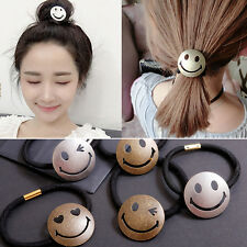 Smile Womens Ponytail Holder Elastic Hair Rubber Band Rope With Hair Ring Décor