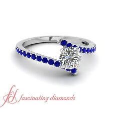 3/4 Ct Blue Sapphire And Center Round Cut Diamond 18K White Gold Engagement Ring