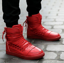 Hot Mens Dance Lace Up Chic Flat Korean Back High Top Fashion Sneakers Zip Shoes