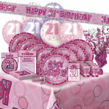 AGE 21 - Happy 21st Birthday PINK GLITZ - Party Range, Banners & Decorations