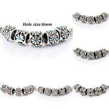 10pcs silver Filled crystal Charm Flower Beads Fit Bracelets Fashion European
