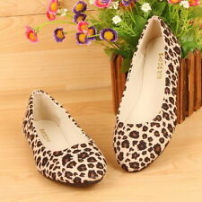 Women Lady Comfort Leopard Ballet Flat Shoe Slip on Canvas Suede Moccasin Loafer