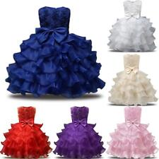 Flower Girls Princess Dress Kids Ruffles Bowknot Lace Party Wedding Dresses