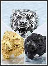 Cool Punk Rave Gothic Rock Roll Man's Stainless Steel Ring - 3 Colors tiger head
