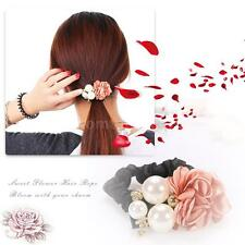 Women Girl Hair Rope Band Crystal Pearl Rose Ponytail Holder Hair Accessory I6L9