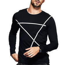 Great! Mens Basic Tee Shirt Crewneck Long Sleeve Print Fitted T-shirt M~XXL