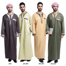 Men Saudi Style Thobe Thoub Abaya Robe Daffah Dishdasha Islamic Arab Kaftan New
