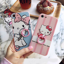 Cute Candy Pink Hello Kitty Finger Rings TPU Case Cover for iPhone 7 7 Plus 6 6S