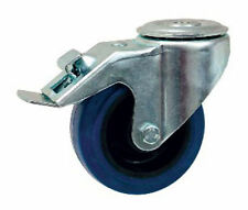INDUSTRIAL SWIVEL & FIXED CASTOR 50-350kg BLUE RUBBER TOP PLATE OR BOLT HOLE FIX