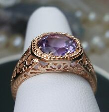 1.7ct Purple Amethyst 14k Rose Gold Victorian Filigree Ring Size (Made To Order)