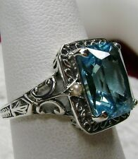 4ct *Aquamarine* & Pearl Sterling Silver Art Deco Filigree Ring {Made To Order}