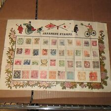VINTAGE COLLECTION OF JAPANESE POSTAGE STAMPS POSTER MID 1800-1940/ STAMPS (39)