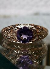 Edwardian Natural Amethyst 14K Rose Gold Filigree Ring Size: {Made To Order}