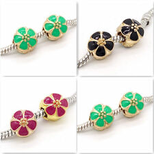 New 2pcs gold flower European Charm BeadS Fit 925 Silver Necklace Bracelet #6