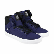 Supra VAIDER Mens Blue Leather High Top Lace Up Sneakers Shoes