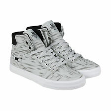 Supra VAIDER D Mens Grey Canvas High Top Lace Up Sneakers Shoes