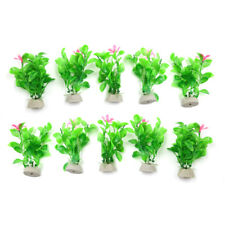 10pcs Aquarium Fish Tank Seagrass Leaves Plants Decoration w Ceramic Base