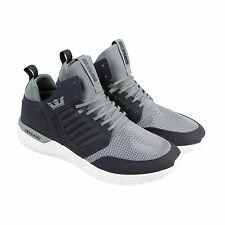 Supra Method Mens Gray Nubuck & Mesh Lace Up Lace Up Trainers Shoes