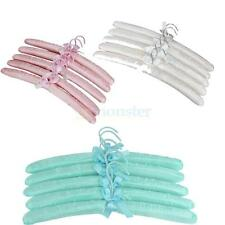 5Pcs Satin Padded Adult Coat Clothes Dress Hook Hangers Display