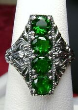 *Emerald* Solid Sterling Silver Edwardian/Victorian Filigree Ring Size: Any/MTO