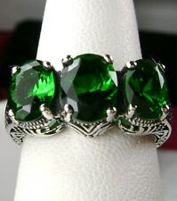 3-Gem*Green Emerald* Solid Sterling Silver Filigree Edwardian Ring Size: Any/MTO