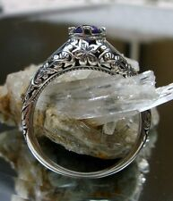 Victorian/Edwardian Amethyst* Sterling Silver Filigree Ring Size {Made To Order}
