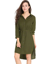 Allegra K Women Long Sleeves High Low Hem Side Slits Shirt Dress w Belt