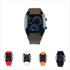 Men Stunning New RPM Chic Turbo Blue Flash LED Car Meter Dial Sports Wrist Watch