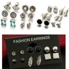 12 Pair New Fashion Women Lady Girl Elegant Crystal Rhinestone Ear Stud Earrings