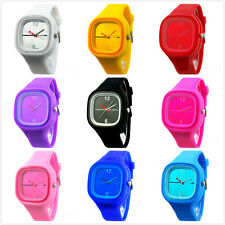 HOT Candy Color Jelly Silicone Sport Unisex Mens Womens Quartz Wrist Watch