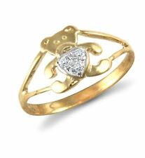 Hallmarked Solid 9ct Yellow Gold Cubic Zirconia Teddy Bear Baby Child's Ring