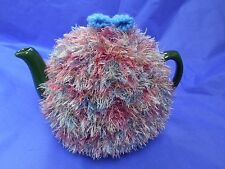 Funky fluffy tea cosy MULTICOLOURED  hand knitted in Wales blue pink cream