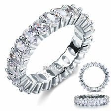 Oval Cut Created Diamond Eternity Band 8 Carat Sterling 925 Silver Ring FR8069