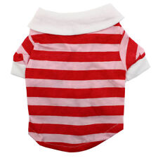 Pet Dog Puppy Stripe Pattern Summer Clothes Polo T-Shirt Apparel Vest Red White