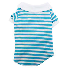 Pet Puppy Stripe Pattern Summer Clothes Polo T-Shirt Apparel Costume Blue White