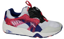 Puma Trinomic Disc Blaze White Pink Blue Mens Trainers Slip On 358135 01 P1