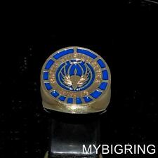 ROUND BRONZE COSTUME RING BATTLESTAR GALACTICA OFFICER BSG 75 BLUE ANY SIZE